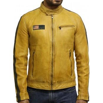 Men's Genuine Sheepskin Leather Jacket with logo