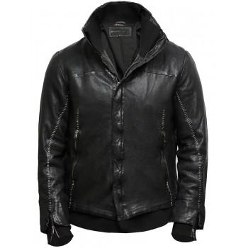 Men's Black Genuine Leather Biker Jacket