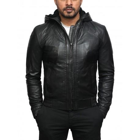 Mens Black Leather Hooded Pilot Jacket