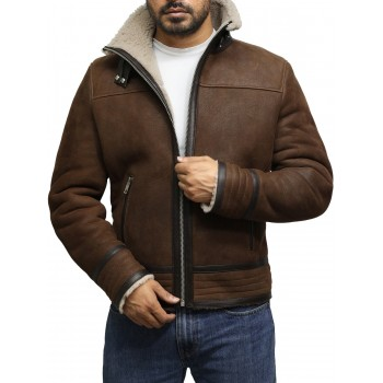 Men's Brown Genuine Shearling Sheepskin Leather Jacket Vintage