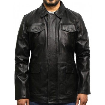 Men's Black Leather Quilted Reefer Jacket Retro