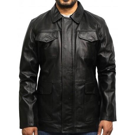 Men's Black Leather Quilted Reefer Jacket