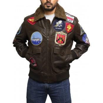 Men's TOP GUN Tom Cruise Pete Maverick A2 Bomber Leather Jacket