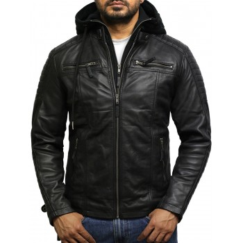 Men's Black Genuine Leather Hooded Jacket
