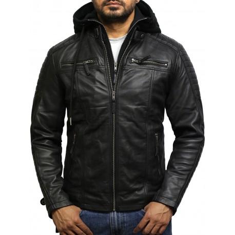 Men's Black Genuine Leather Hooded Jacket