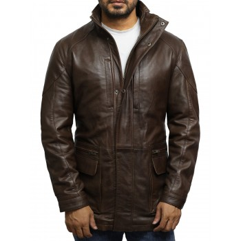 Men's Brown Leather Reefer Jacket