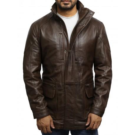 Men's Brown Leather Reefer Jacket