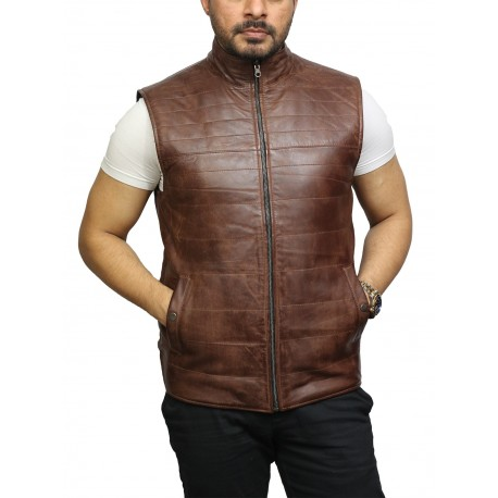 Men's Brown Leather Sleeveless Double-Sided Padded Gilet