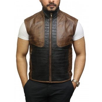 Mens Black & Brown Leather  Body Warmer Sleeveless Waistcoat Gilet