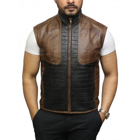 Mens Black & Brown Leather Body Warmer Sleeveless Waistcoat Gilet