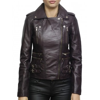 Women's Nappa Leather Biker Jacket Purple Retro