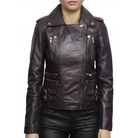 Women's Nappa Leather Biker Jacket Purple Brando Retro