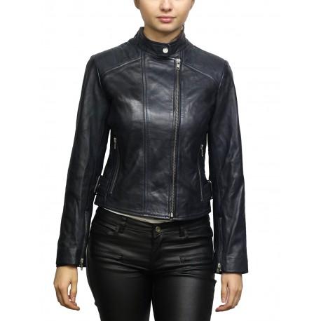 Women's Blue Leather Biker Jacket