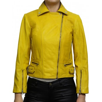 Women's Real Leather Jacket Vintage Yellow Stylish Zip