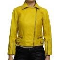Women's Real Leather Jacket Vintage Yellow Stylish Zip