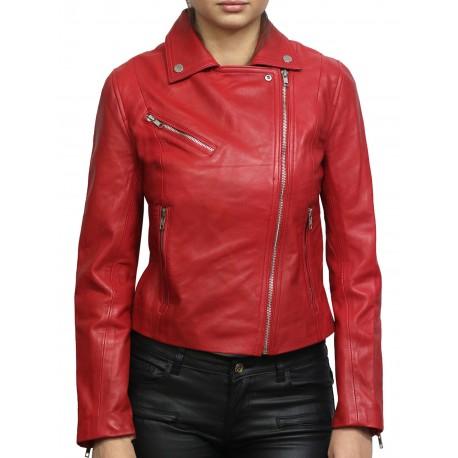 Women Red Leather Biker Jacket