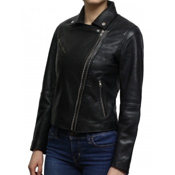 Women's Black Short Length Geunine Leather Biker Jacket Retro