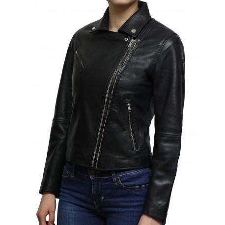 Women's Black Short Length Geunine Leather Biker Jacket Retro