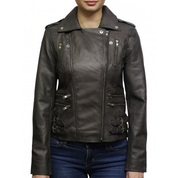 Women Nappa Leather Biker Jacket Grey Retro