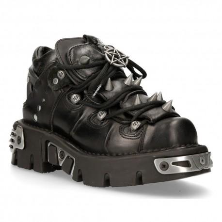 New Rock Unisex Black 100% Leather Rock Goth Emo Stud Low Biker Boots 110-S1
