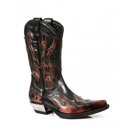 New Rock Leather Black Red Flame Cowboy Leather Gohic Punk Rock Boots 7921-S2