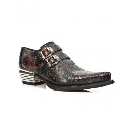New Rock Embossed Vintage Black, Red Leather Buckle Steel Heel Shoes 7960-S5