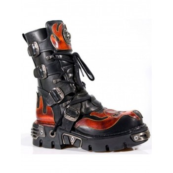 New Rock Red Skull Devil Black Leather Boot Biker Goth Rock Boots 107-S1