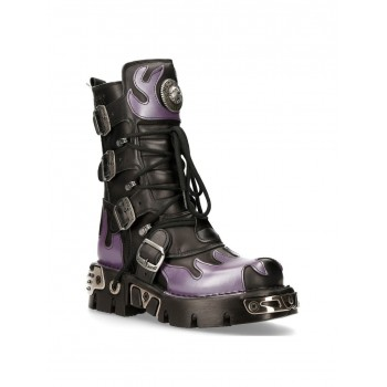 NEW ROCK PURPLE FLAME PUNK BOOTS Black Leather Gothic Heavy Biker M-591-S5