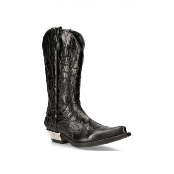 NEW ROCK BLACK FLAME BOOTS Black Leather Heavy Biker Western Cowboy M-7921-S1