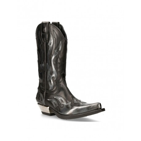 NEW ROCK SILVER FLAME BOOTS Black Leather Heavy Biker Western Cowboy M-7921-S3