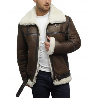 Brandslock Men's Genuine Shearling Sheepskin Leather Jacket Aviator Bomber Flying Pilot