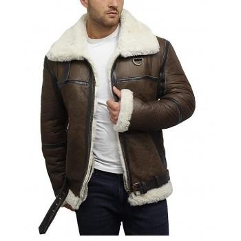 Brandslock Men's Genuine Shearling Sheepskin Leather Jacket Aviator Bomber Flying Pilot
