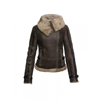 Ladies Women Short Fitted Olive Biker Style Real Shearling Sheepskin-Gisa