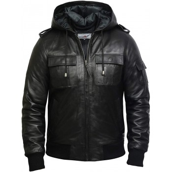 Men's Genuine Leather Biker Jacket With Hood -