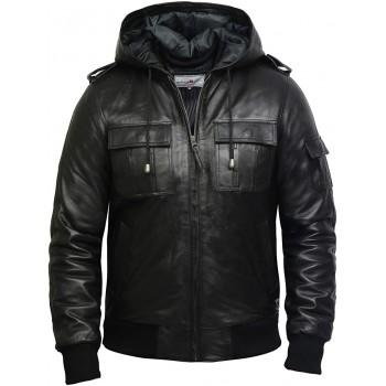 Men's Genuine Leather Biker Jacket With Hood -