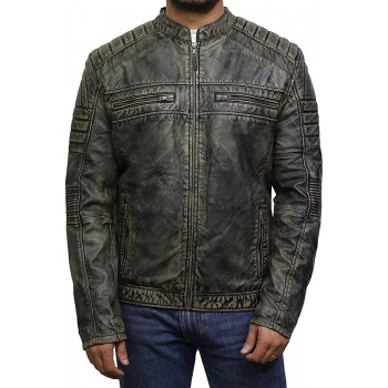 Men's Brown Leather Jacket - Cafe Racer