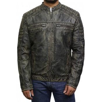 Men's Brown Leather Jacket - Cafe Racer