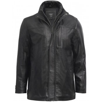 Mens Black Mid Length Warm Real Leather Jacket -Finn