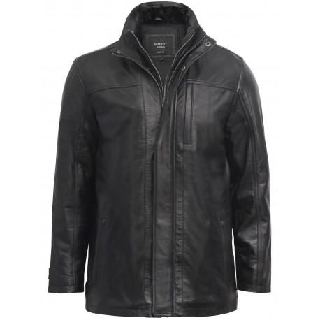 Mens Black Leather Biker Parka Jacket Coat Designer style-Finn