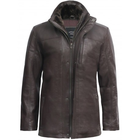 Mens Brown Mid Length Warm Real Leather Jacket -Finn