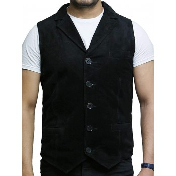 Mens Leather Waistcoat From Smooth Exclusive Goat Suede Classic Smart Black Leather Waistcoat