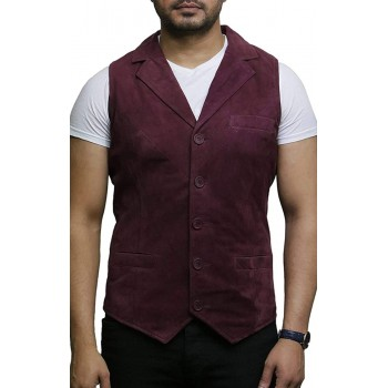 Mens Leather Waistcoat From Smooth Exclusive Goat Suede Classic Smart Burgundy Leather Waistcoat