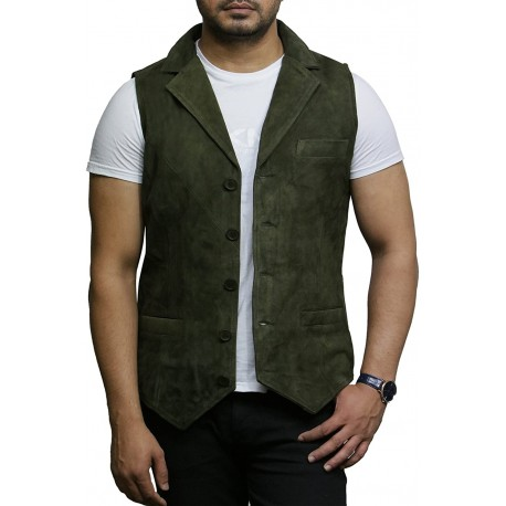 Mens Leather Waistcoat From Smooth Exclusive Goat Suede Classic Smart Green Leather Waistcoat