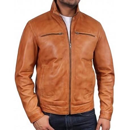 Men's Tan Leather Biker Jacket - Monaco