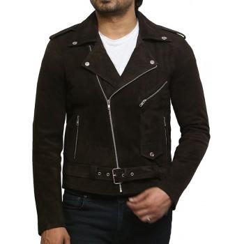 Brandslock Mens Cross Zip Belted Motorcycle Suede Leather Brando Vintage jacket