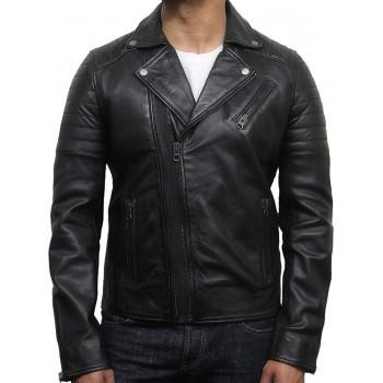 Mens Black Biker Leather Jacket Stylish ziped Brando Look -Grady