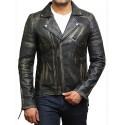 Mens Black Rubb Off Biker Leather Jacket Stylish Ziped Brando Look -Grady