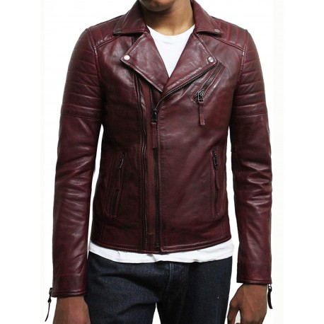 Mens Burgundy Biker Leather Jacket Stylish ziped Look -Grady