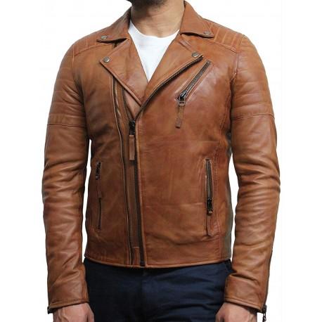 Mens Tan Biker Leather Jacket Stylish ziped Look -Grady