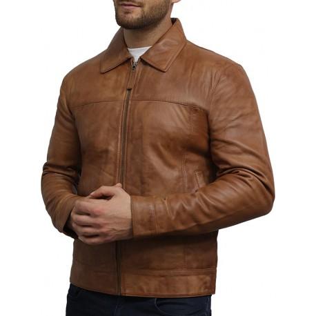Men's Tan harrington Leather Jacket - Oscar